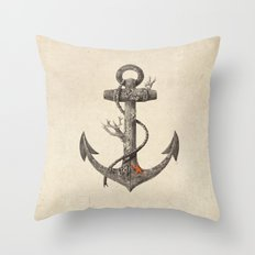 Lost at Sea - mono Throw Pillow