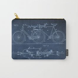 1898 E.M. Hunt Tandem Patent Art Print - Vintage Bicycle Patent  - Bike Patent Carry-All Pouch