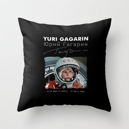Yuri Gagarin-First man in Space-USSR-CCCP-Astronomy-Hearth-Spaceship-Soviet Throw Pillow