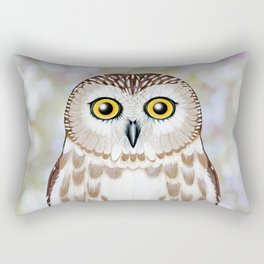 Northern saw whet owl woodland animal portrait Rectangular Pillow