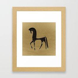 Black Horse in Desert Framed Art Print