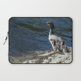 Female Merganser with Her Young Laptop Sleeve