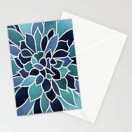 Festive, Flower Bloom, Navy Blue and Teal Stationery Cards