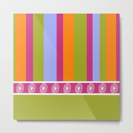 Magenta Lime Stripes Metal Print