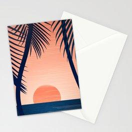 Sunset Palms - Peach Navy Palette Stationery Cards