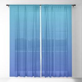 Ombre Hawaiian Ocean Blue Zaffre Gradient Motif Sheer Curtain