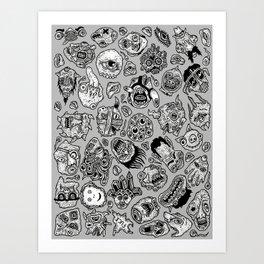 heaps of heads Art Print