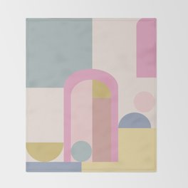 Modern Pastel Architecture Shapes in Pink, Yellow, and Blue Throw Blanket