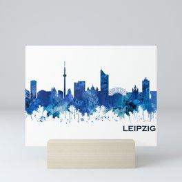 Leipzig Germany Skyline Blue Mini Art Print