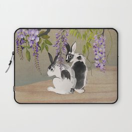 Two Rabbits Under Wisteria Tree Laptop Sleeve