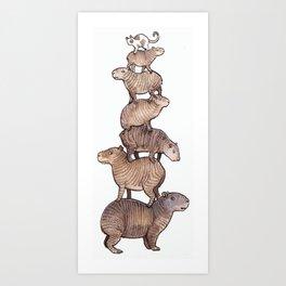 Tower of Capybaras Art Print