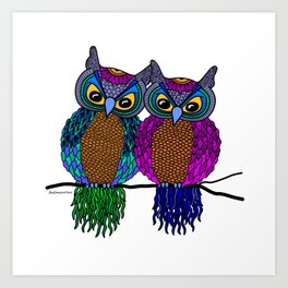 Owls in colourful love- white Art Print