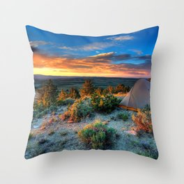 The Benefits of Camping Landscape Throw Pillow