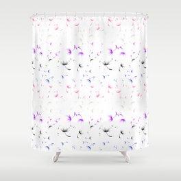 Dandelion Seeds Genderfluid Pride (white background) Shower Curtain
