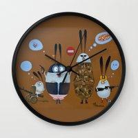 quentin tarantino Wall Clocks featuring Tarantino family by Mirosedina