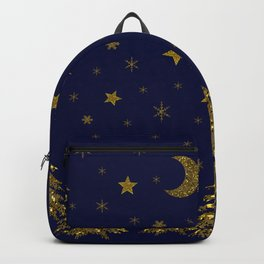 Sparkly Christmas tree, moon, stars Backpack