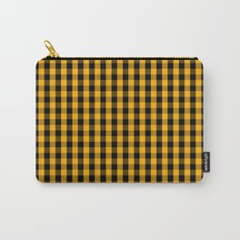 Pale Pumpkin Orange and Black Halloween Gingham Check Carry-All Pouch