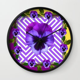 ABSTRACT YELLOW  CONTEMPORARY LILAC PURPLE PANSIES Wall Clock