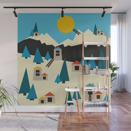 A Sunny Winter Day in the Mountain Village Wall Mural