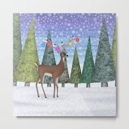Christmas deer and chickadees Metal Print