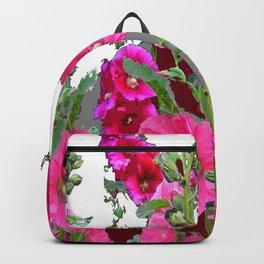 PINK- PURPLE COTTAGE  HOLLYHOCKS WHITE & GREY GARDEN Backpack