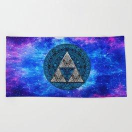 Triforce Circle With Blue Nebula Beach Towel