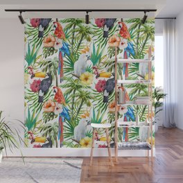 Exotic Birds pattern Wall Mural