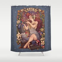 mucha Shower Curtains featuring Gamer girl Nouveau by Medusa Dollmaker