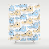 chuck Shower Curtains featuring Colored Chuck by LEIGH ANNE BRADER