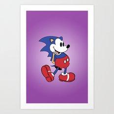 Mickey x Sonic Art Print