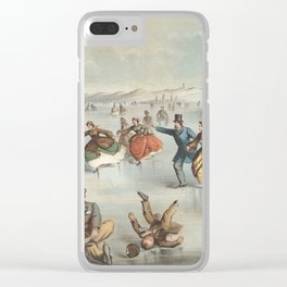Vintage Central Park Ice Skating Painting (1861) Clear iPhone Case