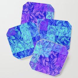 colorful pastel blue geometrical shapes pattern print with painted leaves design Coaster