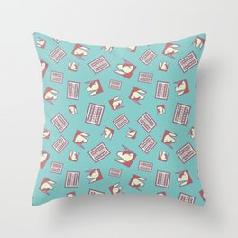 Funny Ironic Advisory Unicorn Message Pattern Throw Pillow