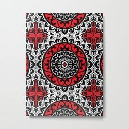 Southwestern Sun Mandala Batik, Red, Black & White Metal Print