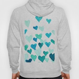 Valentine's Day Watercolor Hearts - turquoise Hoody