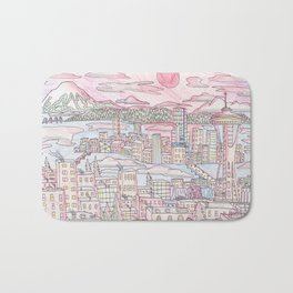 Seattle in Colored Pencil Bath Mat