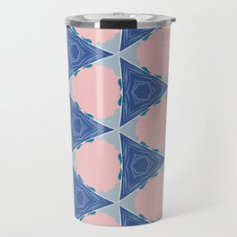 Barrett pink circle and blue triangle geo pattern Travel Mug