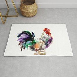 Rooster, rooster art, design artwork watercolor illustration farm rooster kitchen Rug