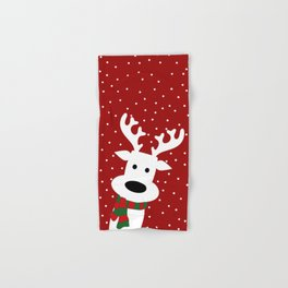 Reindeer in a snowy day (red) Hand & Bath Towel