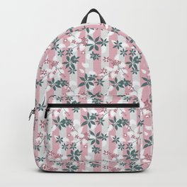 Gray pink floral pattern Backpack