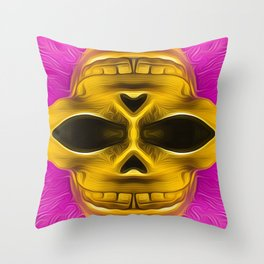 drawing and painting golden skull with pink background Throw Pillow