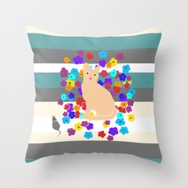 Cat Mouse Flowers Throw Pillow