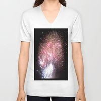 fireworks V-neck T-shirts featuring Fireworks by Helena Jade