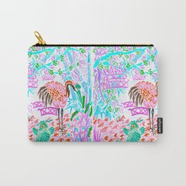 Asian Bamboo Garden in Cherry Blossom Watercolor Carry-All Pouch