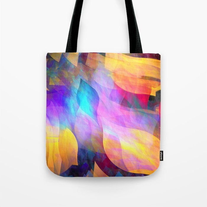 Colourful abstract with leaf shapes Tote Bag