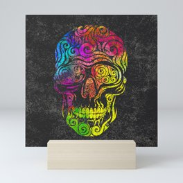 Swirly Skull (color) Mini Art Print