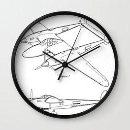 Lockheed P-31 Airplane Patent - Lightning Aircraft Art - Black And White Wall Clock