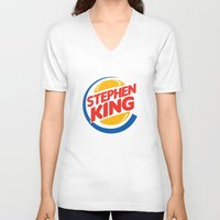stephen king V-neck T-shirts featuring Stephen King by Alejo Malia