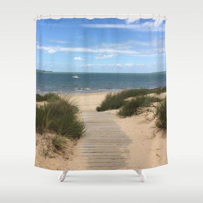 Breezy Seaside Path Shower Curtain By Wanderlostglobal