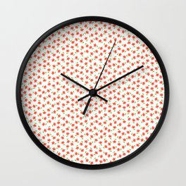 Ditsy Floral - Coral and Green on White Wall Clock